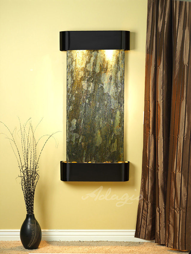 Cascade Springs Wall Water Feature With Green Slate And