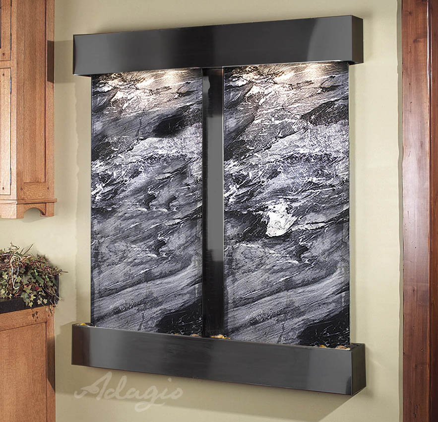 Cottonwood Falls Wall Water Feature With Black Marble And