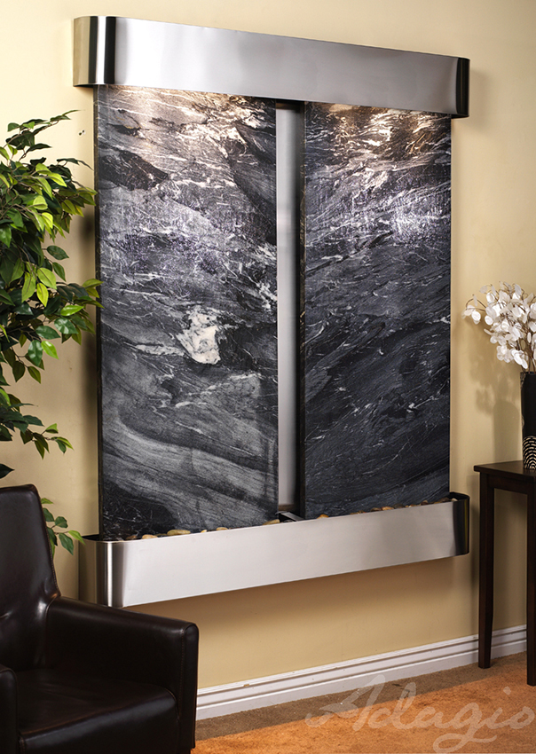 Cottonwood Falls Wall Water Feature With Black Spider