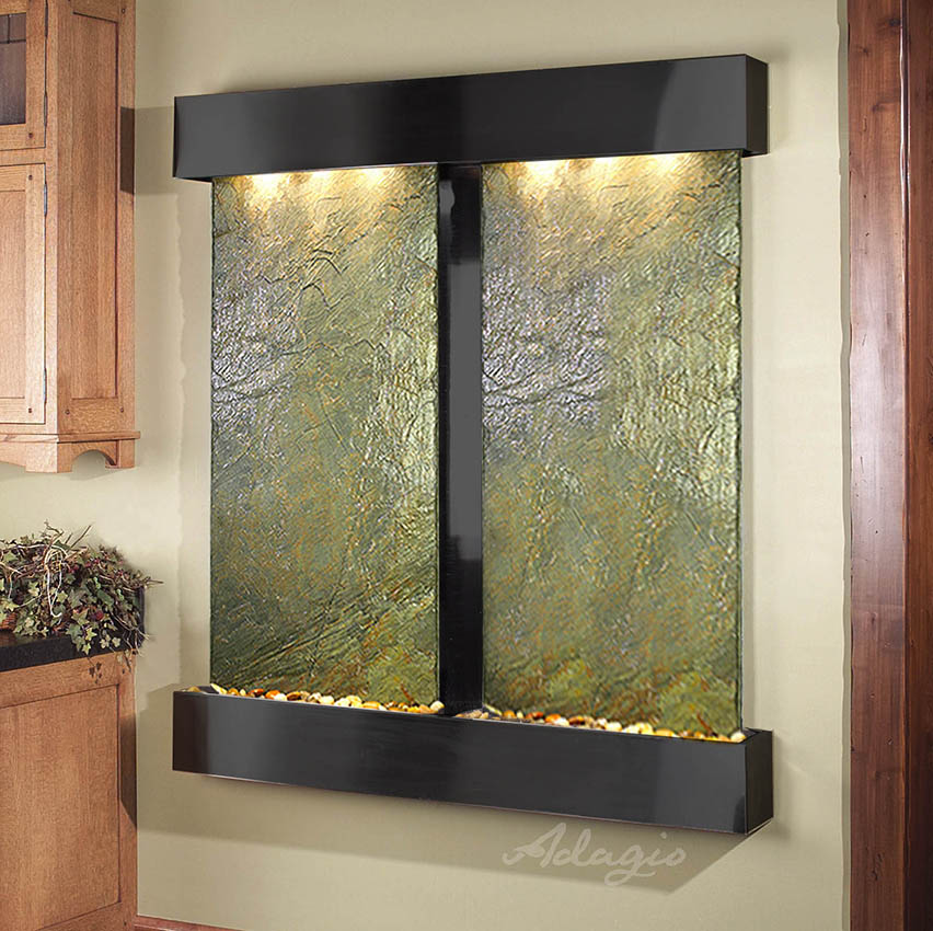Wall Water Fountain : cottonwood-falls-wall-water-feature-with-green-slate-and-blackened ...