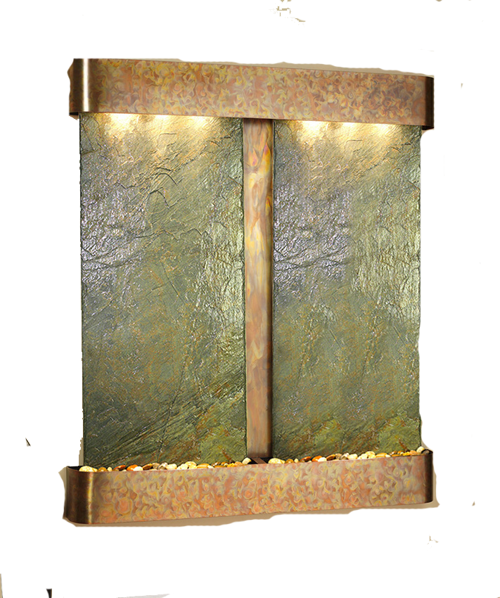 Cottonwood Falls Wall Water Feature With Green Slate And