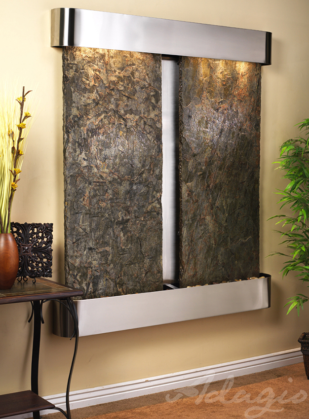 Cottonwood Falls Wall Water Feature With Green Slate And Stainless