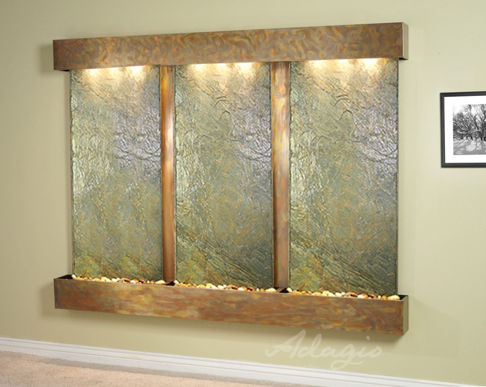 Deep Creek Falls Wall Water Feature Green Slate With