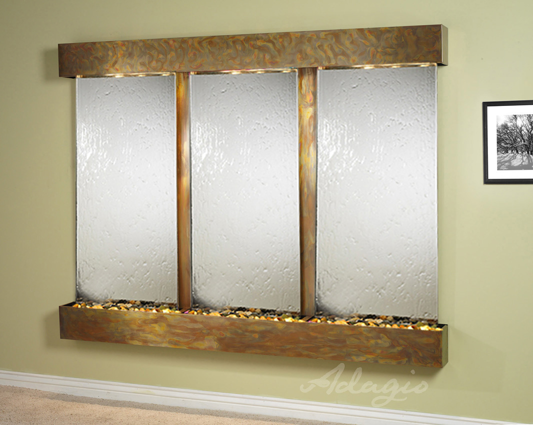 Deep Creek Falls Wall Water Feature Mirrored Glass With