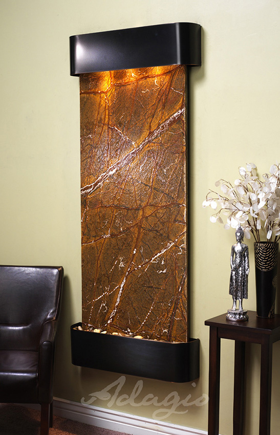 Inspiration Falls Wall Water Feature With Brown Marble And