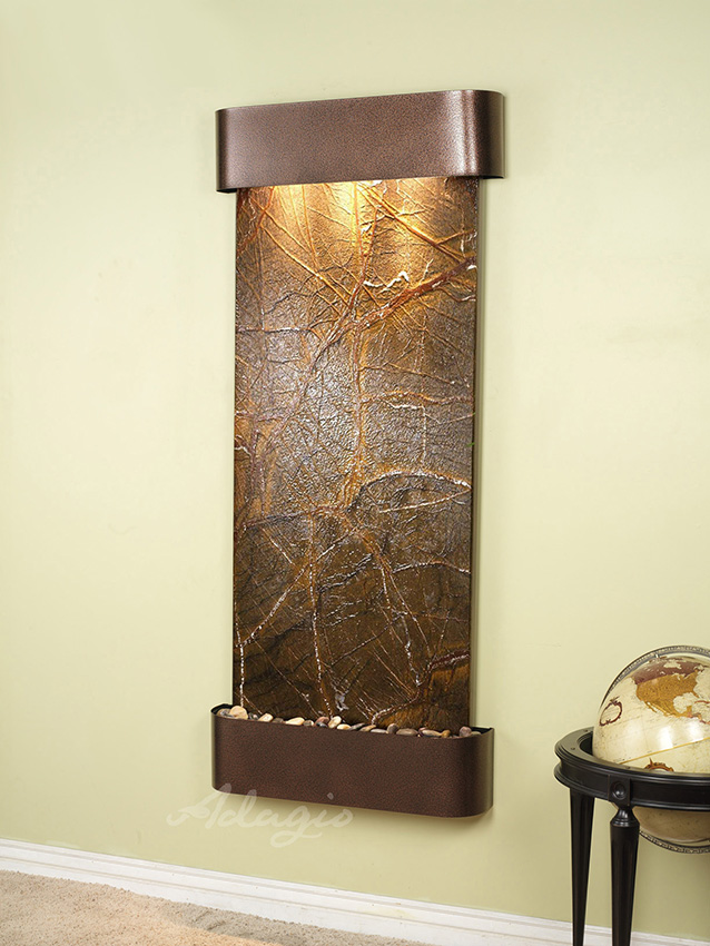 Inspiration Falls Wall Water Feature With Green Marble And