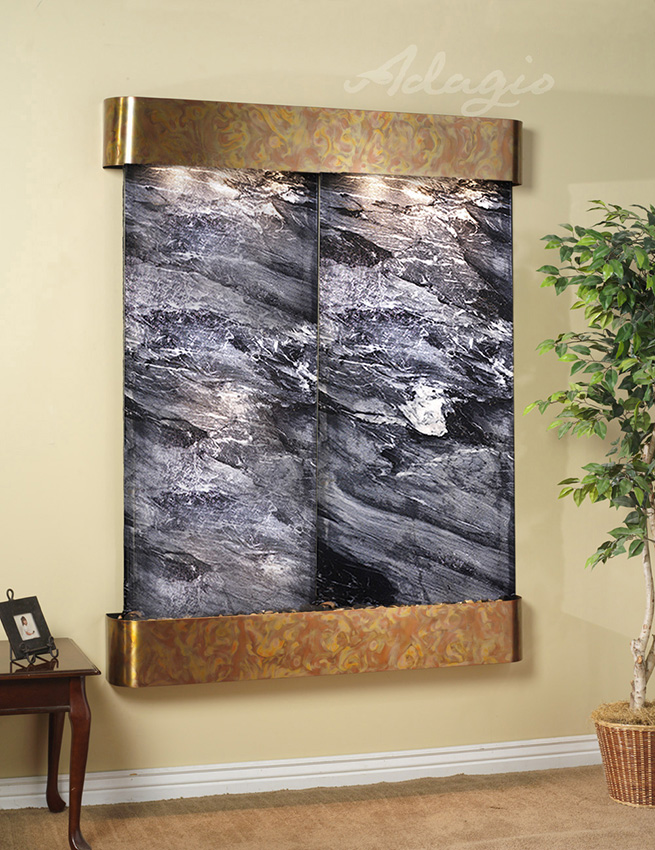 Majestic River Wall Water Feature With Black Spider Marble