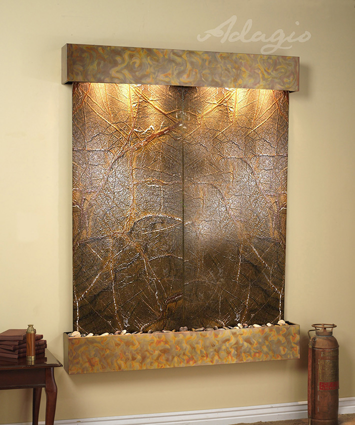 Majestic River Wall Water Green Marble And Rustic Copper
